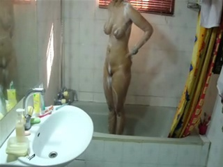 Gallery 60. Excited girl taking naked shower